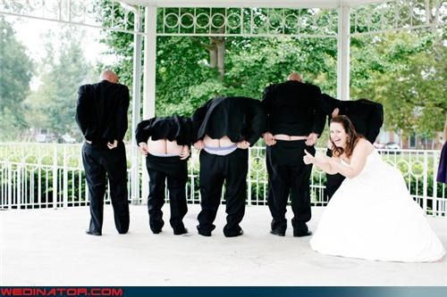 Crazy Brides,crazy groom,eww,funny wedding photos,honey-moon,mooning groomsmen,mooning the camera,surprise,thumbs up,wedding party,white-mans-rear-end,wtf,wtf is this,yuck