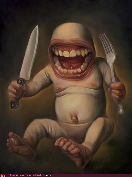 baby creepy eww fork hungry knife wtf