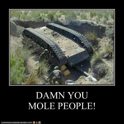 FAIL,flipped over,military,mole,mole people,soldiers,tank,upside down