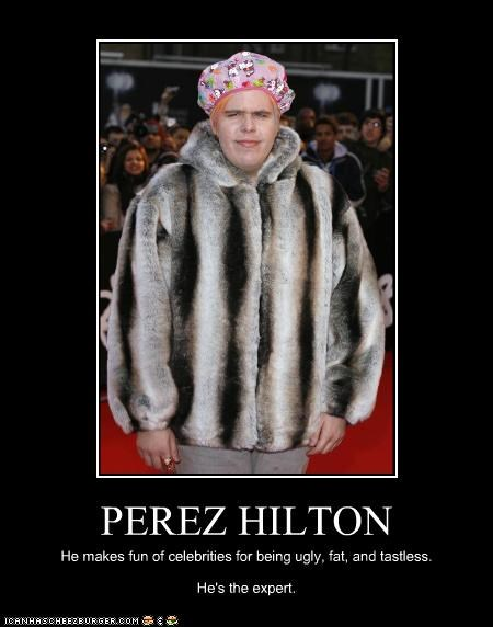 PEREZ HILTON He makes fun of celebrities for being ugly, fat, and tastless. He's the expert.