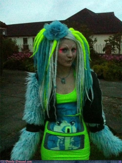 bad makeup blue hair dreadlocks green hair lets-go-out-to-a-rave neon