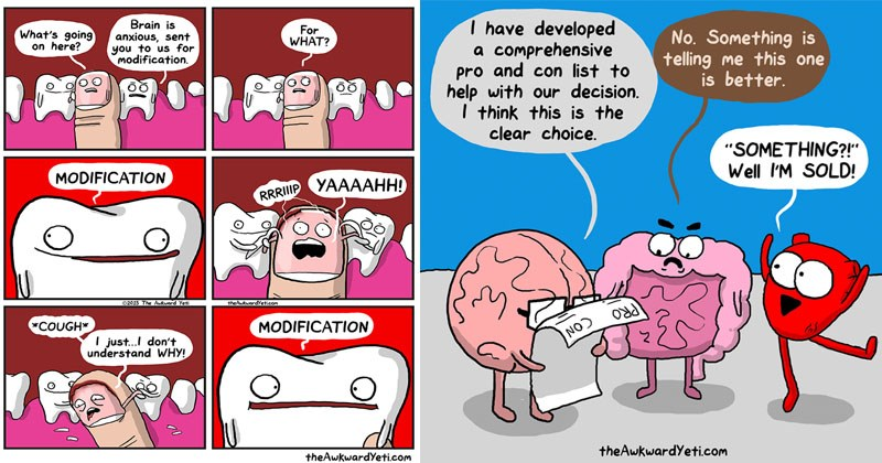 Funny web comics about the human body from The Awkward Yeti comics.