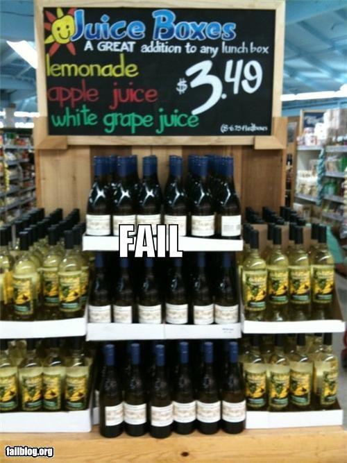 display,failboat,grocery store,juice,lunch box,sign,wine