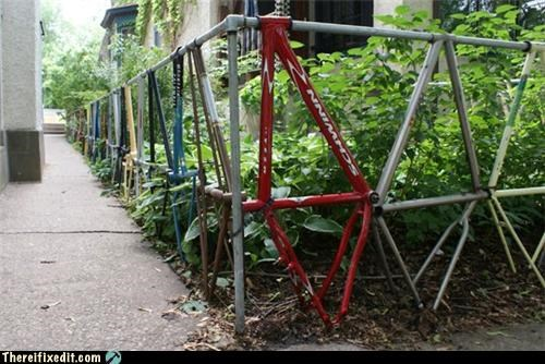 bicycle bike fence Kludge modern art - 3966361344