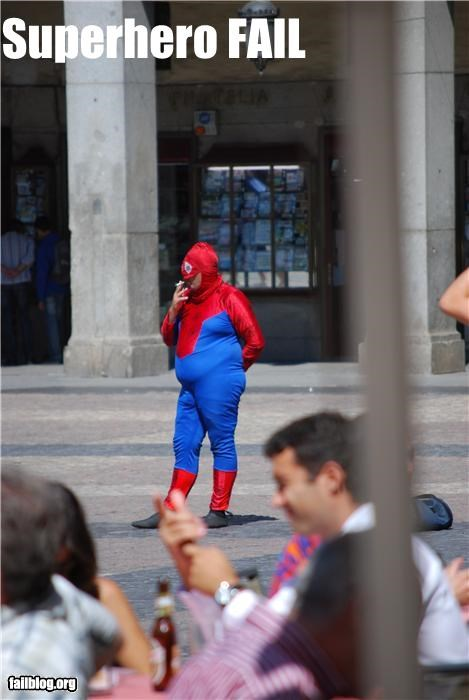 costume,failboat,rated g,smoking,Spider-Man,superheroes,too fat