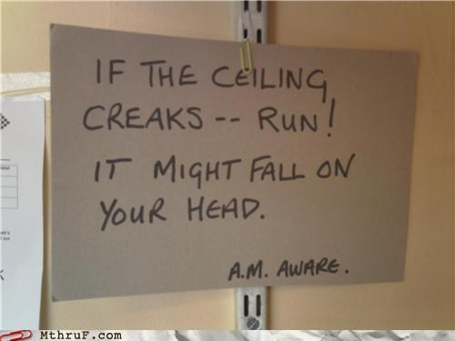 aware ceiling signs workplace safety - 3968280576