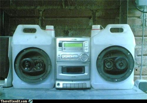 jugs,Kludge,speakers,stereo