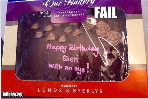 "Cake Decoration Fail During the phone order, I requested the bakery write Happy Birthday, Sheri (with an ""i"")."