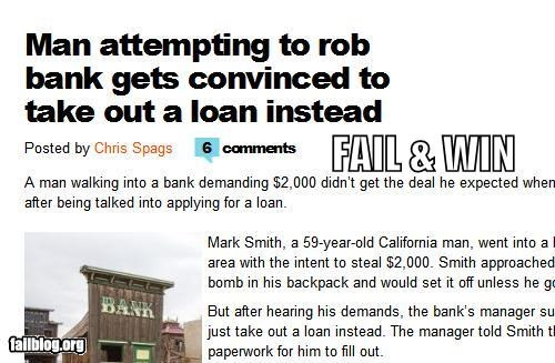 bank failboat haha loans Probably bad News robbery win