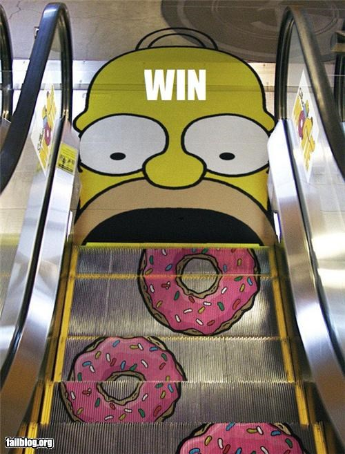 design donuts escalator failboat food g rated nom nom nom promotion the simpsons movie win - 3970108928