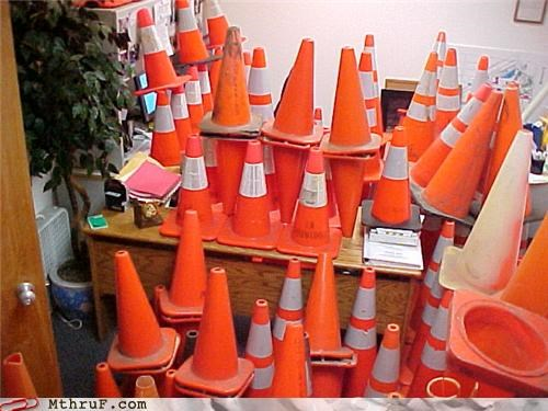 cones,desk,prank,traffic cones