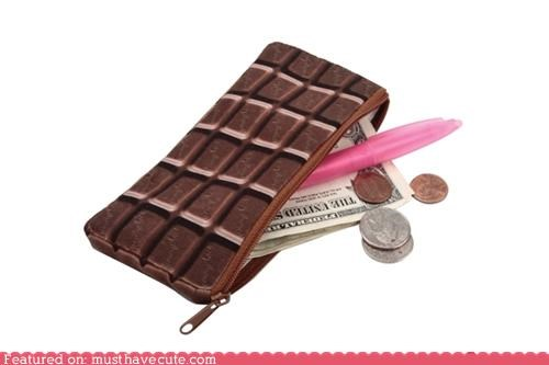 bag candy chocolate chocolate bar money pocket wallet zipper