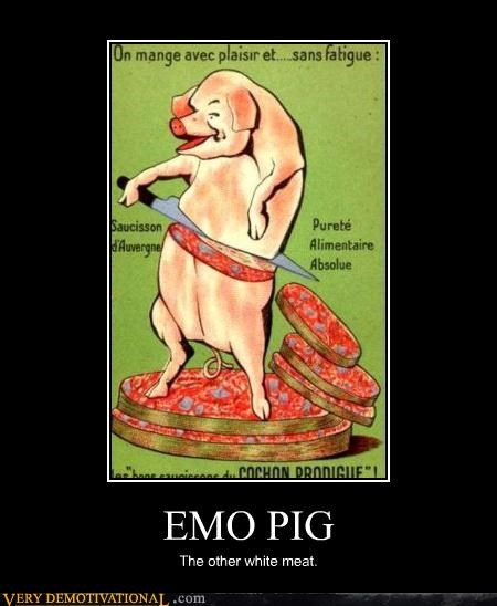 cuts emo food knife ouch pig pork Sad the other white meat