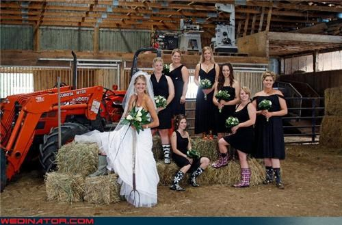 bachelorettes,barn bachelorettes,bride,confusing,confusing wedding fashion,country bride,Crazy Brides,fashion is my passion,forklift,funny wedding photos,haystack bride,needle in a haystack,pitchfork,rain boots,tacky,wedding party,Wedding Themes,wtf,wtf is this