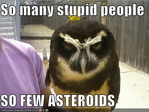 So many stupid people  SO FEW ASTEROIDS