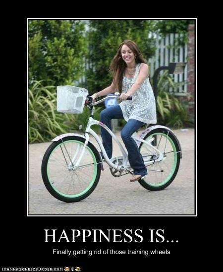 bicycles bikes happiness miley cyrus training wheels - 3973287424