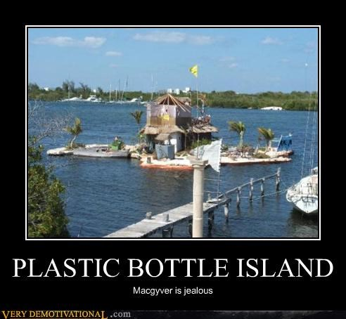floating,plastic bottle,island,macgyver,funny