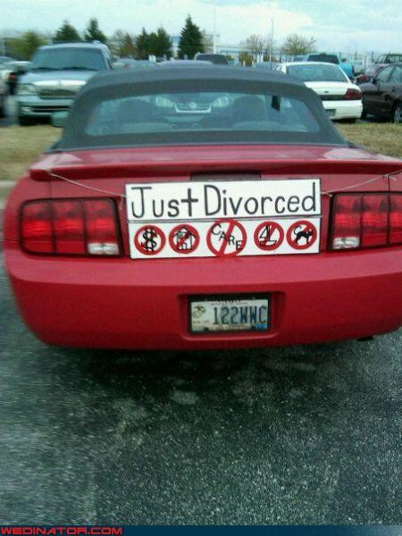 depressing divorce divorce car sign funny wedding photos Just Divorced miscellaneous-oops sailboat Wedding Themes what-she-got-divorce-sign wtf yikes