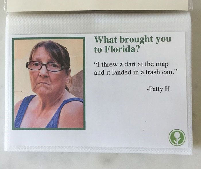 fake airbnb guest book asks why you came to Florida