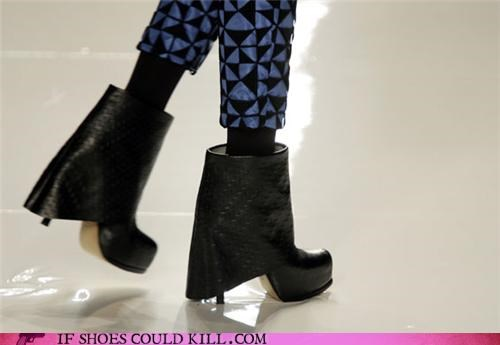 black,boots,cuff,fold,heels,pants,pattern,platform,skirt