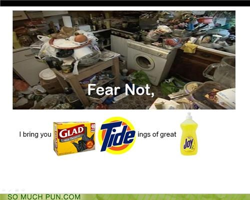 brand names,cleaning supplies,glad,Joy,kitchen,magic eraser,mess,mr clean,pledge,spray-n-wash,tide