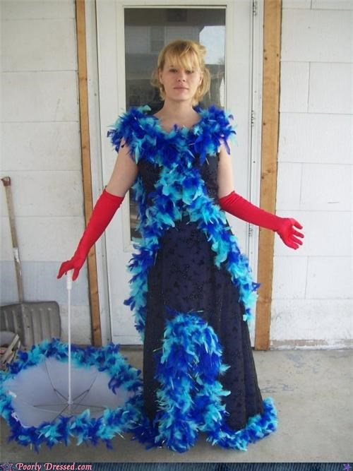 DIY feathers formal wear prom