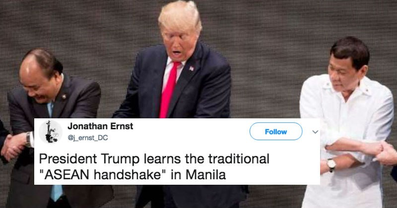 Trump gets trolled on Twitter for ridiculous SE Asian handshake, where he grimaces the entire time through.