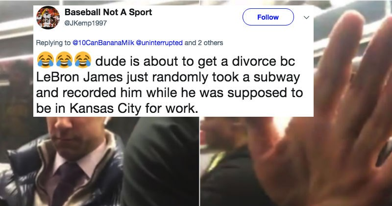 Cranky guy gets mad at NBA basketball player, Lebron James for taking a video selfie with him on the NY subway.
