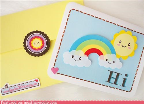 card clouds happy rainbow stationary sun - 3981346304