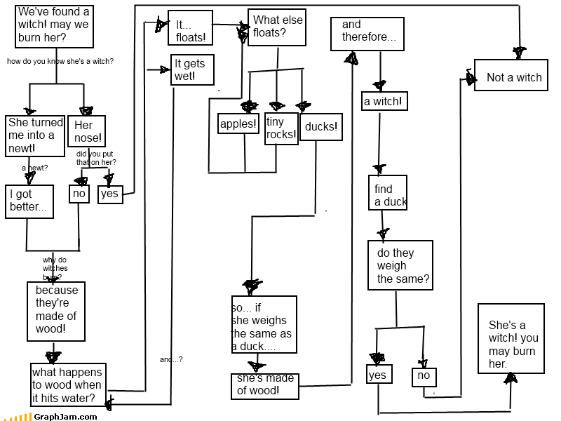 flow chart holy grail made of wood monty python weighs the same as a duck Witches