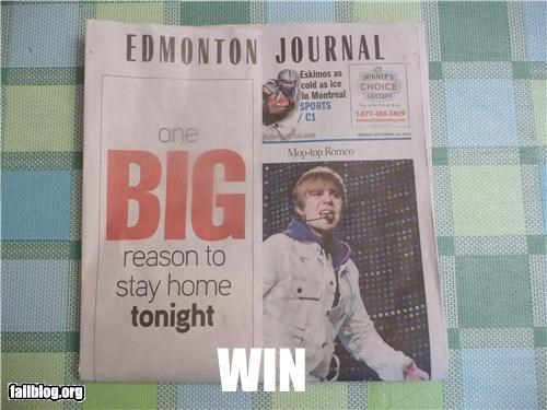 failboat,g rated,justin bieber,juxtaposition,newspaper,Probably bad News,win