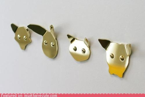 animals,coat hooks,ears,faces,metal,screws