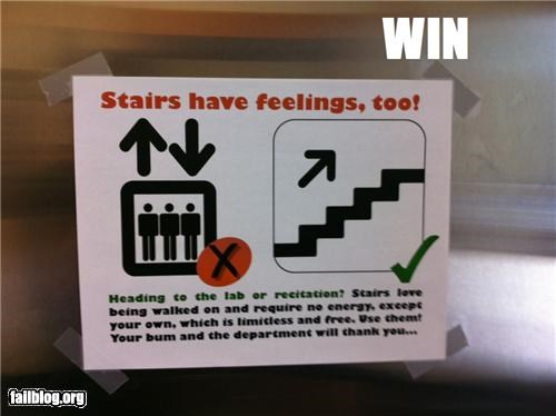 elevators,failboat,feelings,g rated,notices,signs,stairs,win