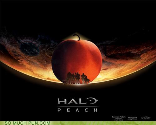 fruit halo peach pear play solo video game - 3986573568