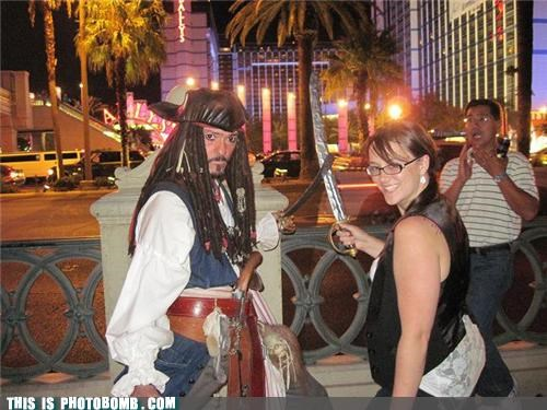Bombosaurus,costume,photobomb,pirates,surprise,vegas