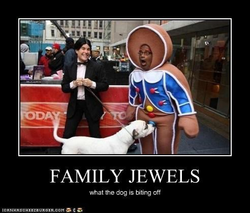 FAMILY JEWELS what the dog is biting off
