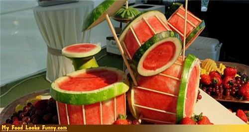 band,drums,fruit,fruits-veggies,instrument,Music,snare,watermelon,watermelon drums