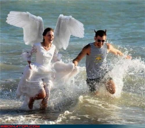 angel,angel and devil outfits,Crazy Brides,crazy groom,devil,fashion is my passion,funny wedding photos,funny wedding portrait,heaven and hell wedding theme,surprise,water,Wedding Themes,wet on your wedding day,wet wedding,wtf,wtf is this