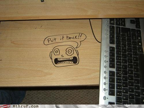 desk,drawing,face,keyboard