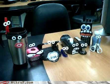cubicle boredom,googly eyes,stapler,tape
