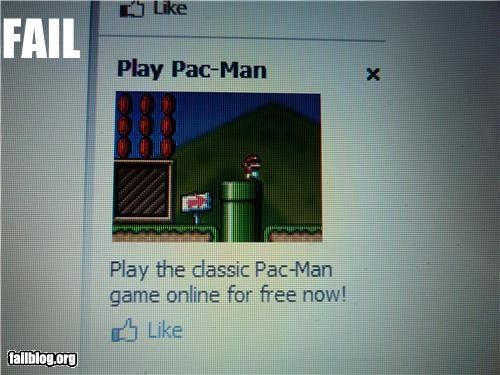ads,failboat,mario,pac man,video games,wrong game