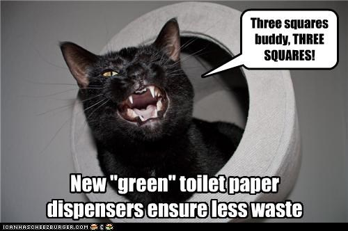 caption captioned cat dispenser ensures ensuring green less new product toilet paper waste - 3989459968