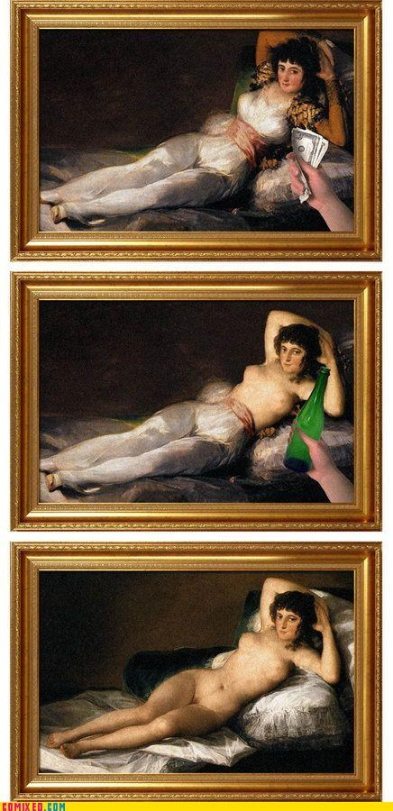 classic art,drinking,Francisco Goya,metaphor,money,Nude Maja,nudity,paintings,the internets