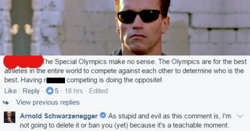 Arnold Schwarzenegger Brutally Eviscerates Scumbag For Insulting Special Olympic Athletes