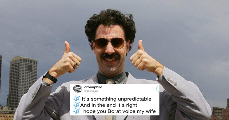 Funny twitter meme about saying my wife in Borat voice in song lyrics.