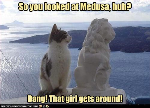caption,captioned,cat,gets around,insinuation,lion,medusa,shock,statue,stone