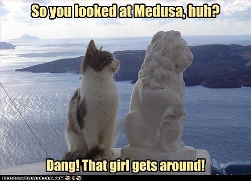 caption captioned cat gets around insinuation lion medusa shock statue stone - 3990817792