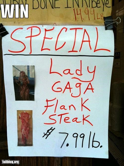 celeb,combo,dresses,failboat,lady gaga,poster,sign,steaks,win