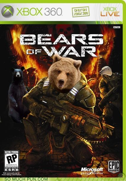 bears,forest fires,friendly fire,Gears of War,grizzly violence,prevention,psa,rated m,Smokey the Bear