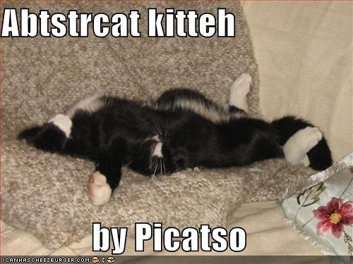 abstract,art,artist,by,caption,captioned,cat,painting,picasso,pun,puns